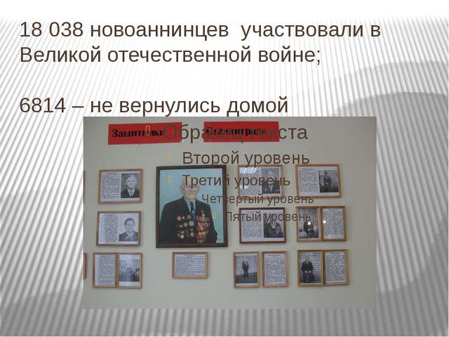 18 038 новоаннинцев участвовали в Великой отечественной войне; 6814 – не верн...