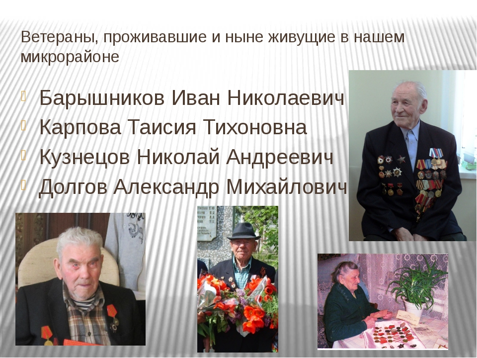 Ветераны, проживавшие и ныне живущие в нашем микрорайоне Барышников Иван Нико...