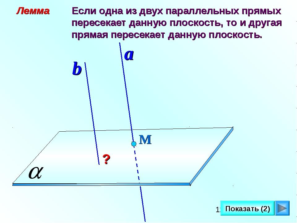 Лемма Если одна из двух параллельных прямых пересекает данную плоскость, то...