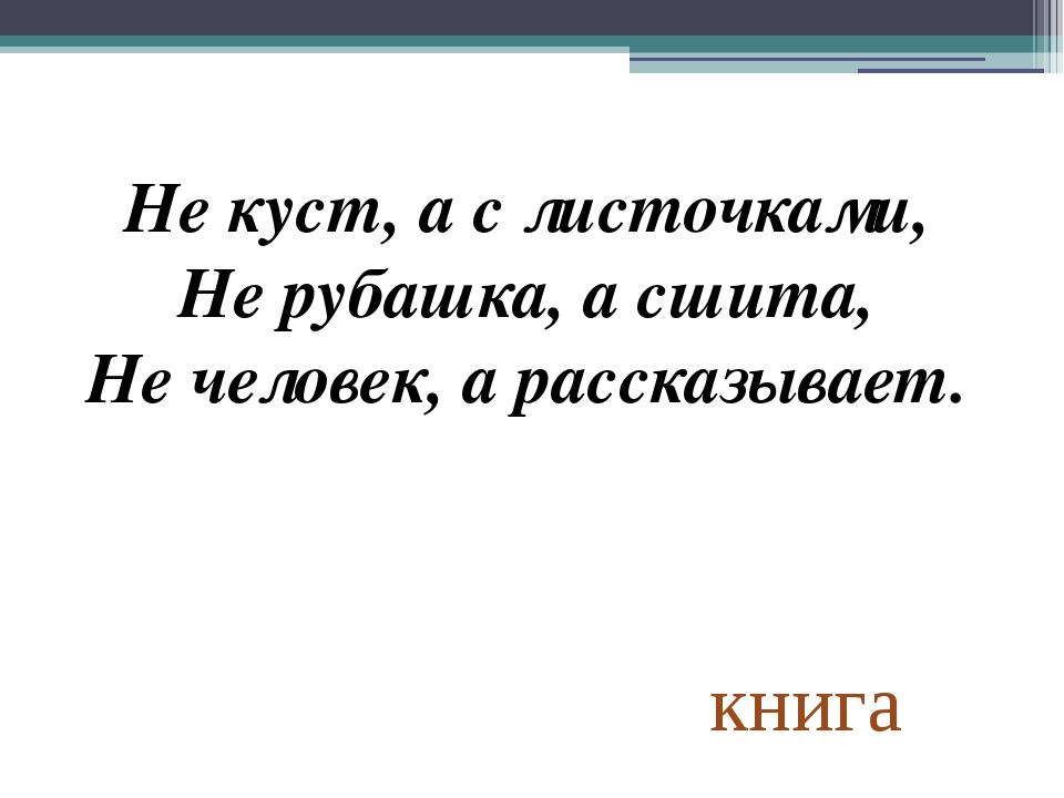 книга Не куст, а с листочками, Не рубашка, а сшита, Не человек, а рассказывает.