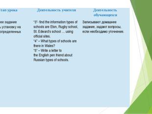 Этап урока Деятельность учителя Деятельность обучающихся 9.Домашнее задание (