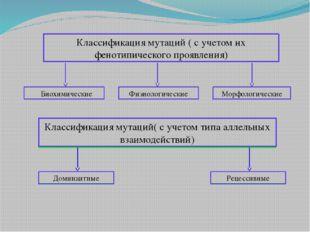 Классификация мутаций ( с учетом их фенотипического проявления) Биохимически