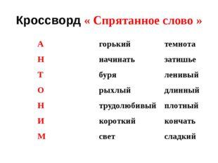 Кроссворд « Спрятанное слово » А горький темнота Н начинать затишье Т буря ле