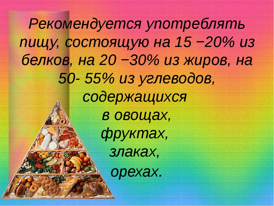 Рекомендуется употреблять пищу, состоящую на 15 −20% из белков, на 20 −30% из...