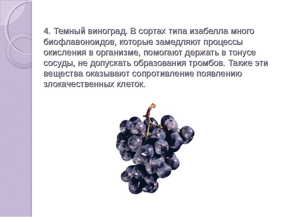 4. Темный виноград. В сортах типа изабелла много биофлавоноидов, которые зам...