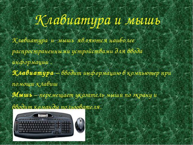 Клавиатура и мышь Клавиатура и мышь являются наиболее распространенными ус...