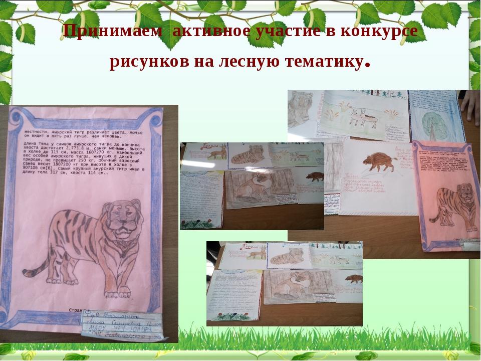 Принимаем активное участие в конкурсе рисунков на лесную тематику.