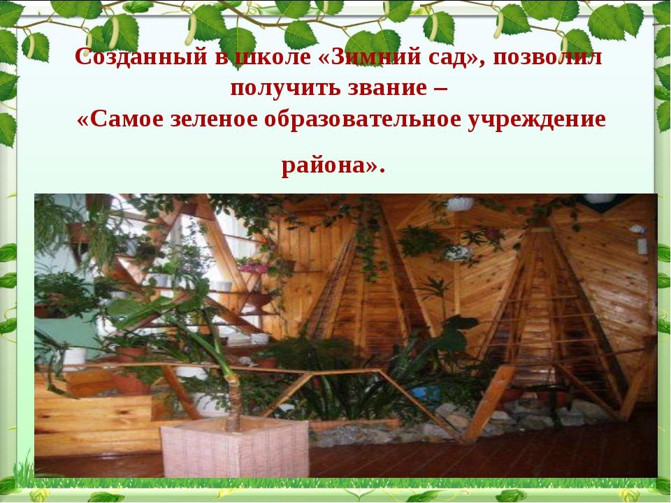 Cозданный в школе «Зимний сад», позволил получить звание – «Самое зеленое обр...