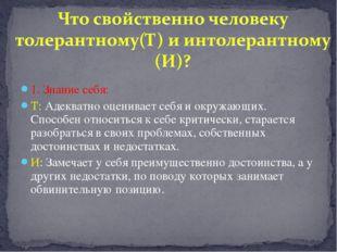 1. Знание себя: Т: Адекватно оценивает себя и окружающих. Способен относиться