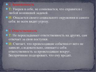 2. Защищенность Т: Уверен в себе, не сомневается, что справится с любой возни