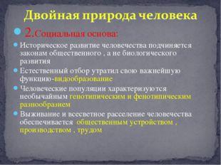 2.Социальная основа: Историческое развитие человечества подчиняется законам о