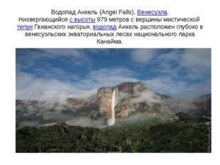 Водопад Анхель (Angel Falls),Венесуэла. Низвергающийсяс высоты979 метров с