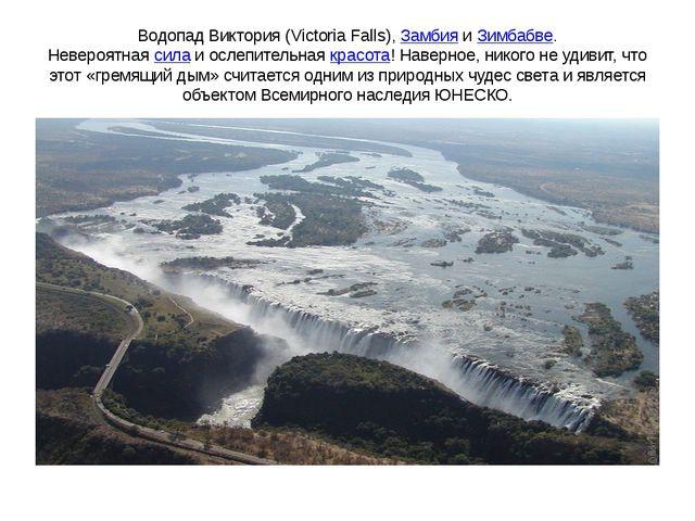 Водопад Виктория (Victoria Falls),ЗамбияиЗимбабве. Невероятнаясилаи осле...