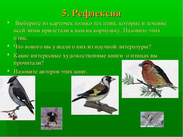 5. Рефлексия Выберите из карточек только тех птиц, которые в течение всей зим...