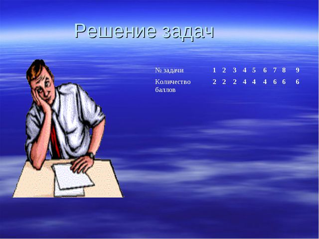 Решение задач № задачи123456789 Количество баллов222444666