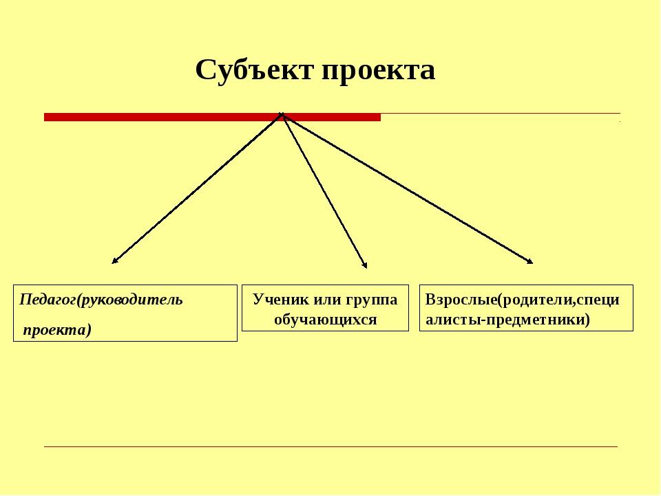 Субъект проекта Педагог(руководитель проекта) Ученик или группа обучающихся В...