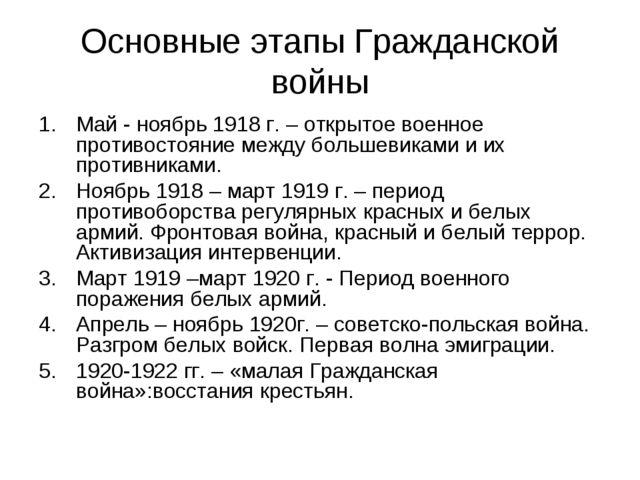 Основные этапы Гражданской войны Май - ноябрь 1918 г. – открытое военное прот...