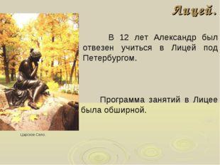 Лицей. В 12 лет Александр был отвезен учиться в Лицей под Петербургом. Царско