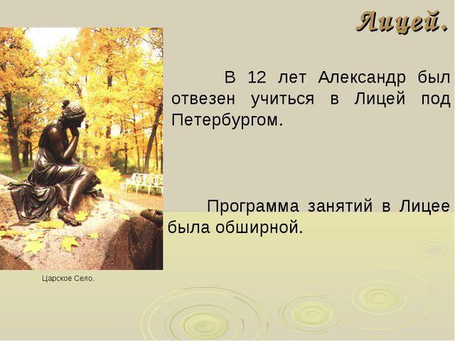Лицей. В 12 лет Александр был отвезен учиться в Лицей под Петербургом. Царско...