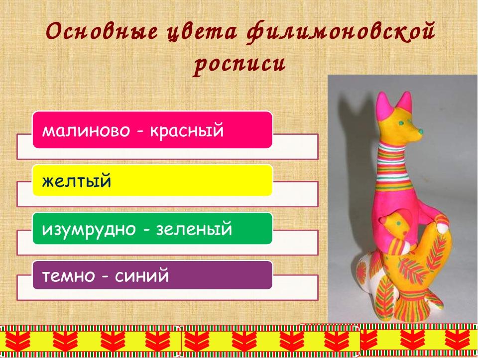 Основные цвета филимоновской росписи