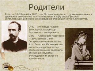 Родители Отец—Александр Львович Блок, юрист, профессор Варшавского университ