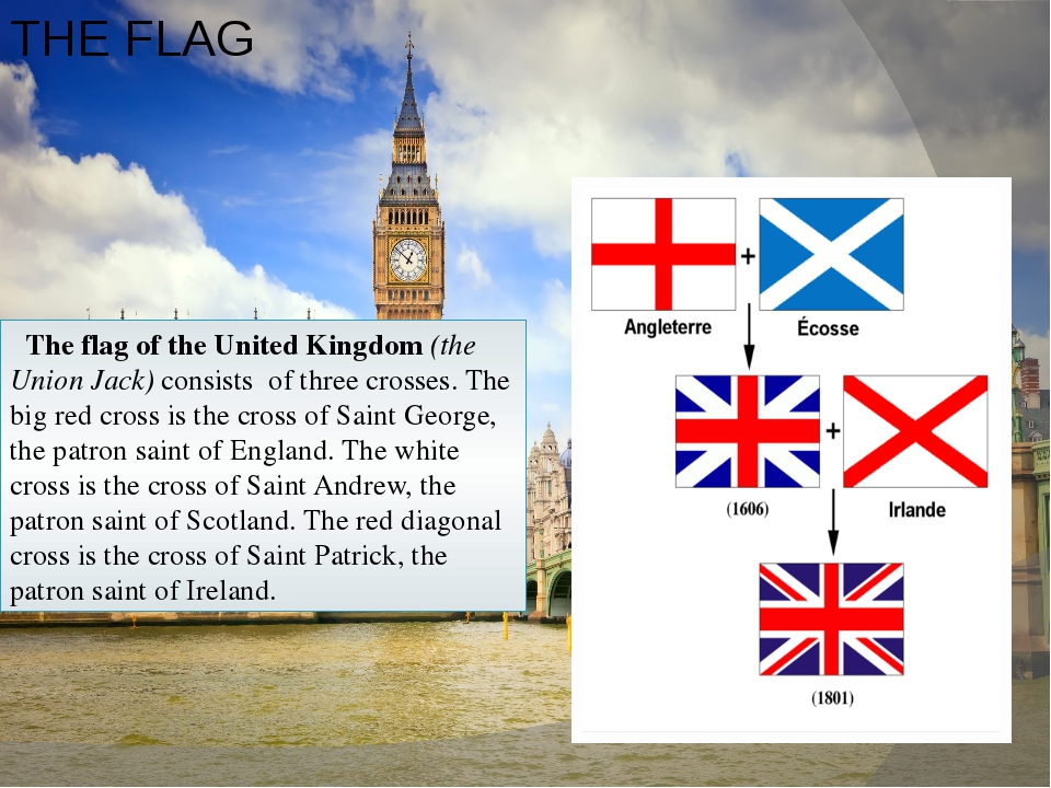 THE FLAG The flag of the United Kingdom (the Union Jack) consists of three cr...