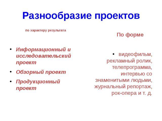 Разнообразие проектов по характеру результата Информационный и исследовательс...