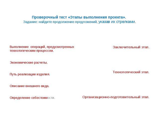 Проверочный тест «Этапы выполнения проекта». Задание: найдите продолжение пр...