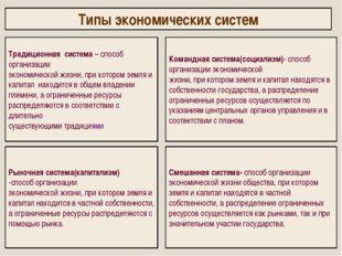 Типы экономических систем Традиционная система – способ организации экономич