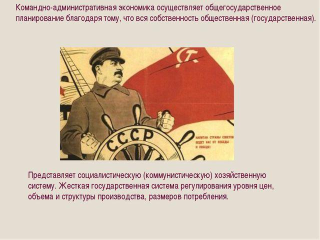 Командно-административная экономика осуществляет общегосударственное планиро...