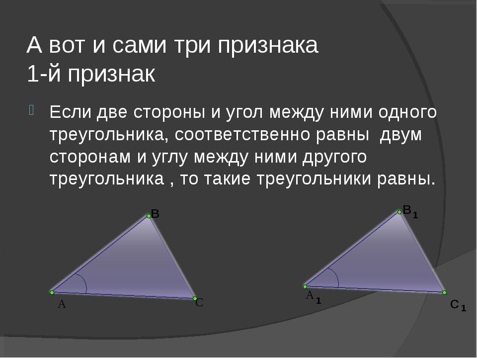 А вот и сами три признака 1-й признак Если две стороны и угол между ними одно...