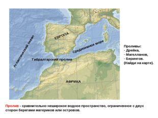 Пролив - сравнительно неширокое водное пространство, ограниченное с двух стор