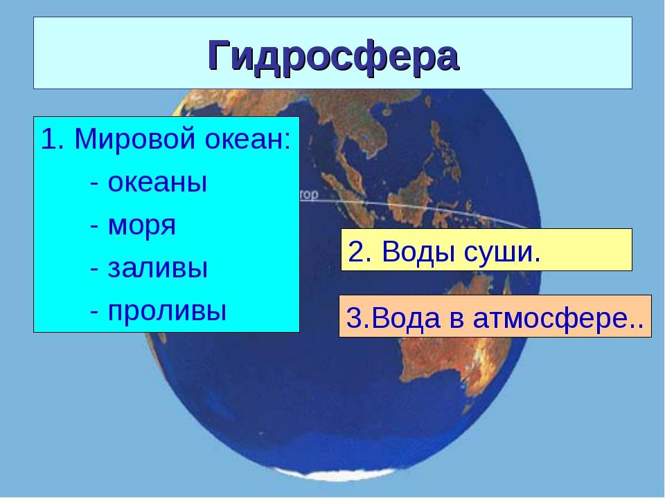 Гидросфера 1. Мировой океан: - океаны - моря - заливы - проливы 2. Воды суши....