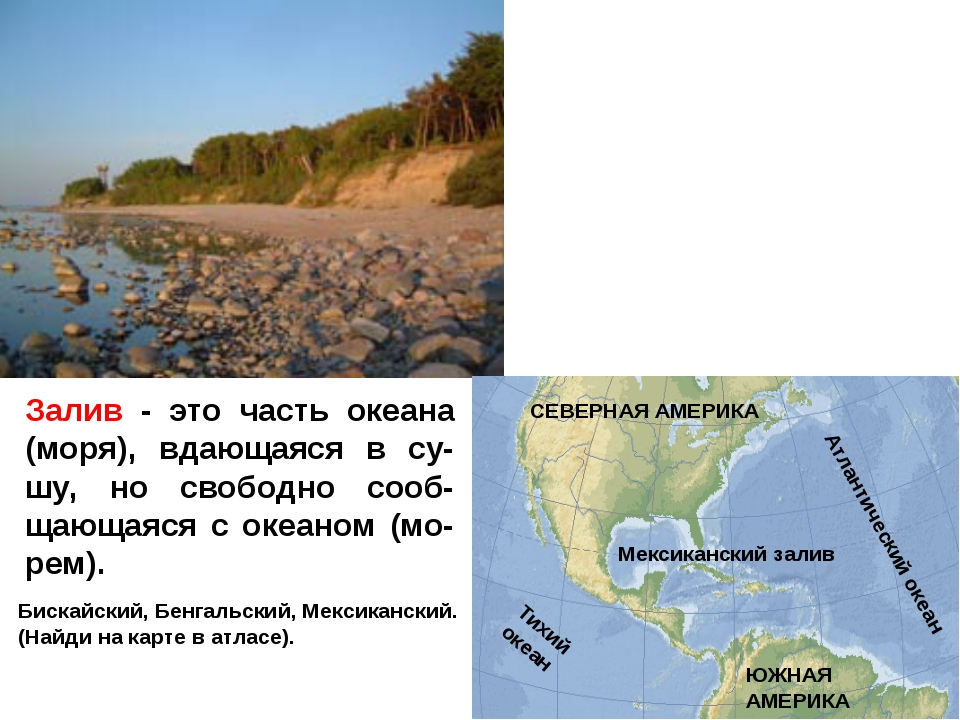Залив - это часть океана (моря), вдающаяся в су-шу, но свободно сооб-щающаяся...