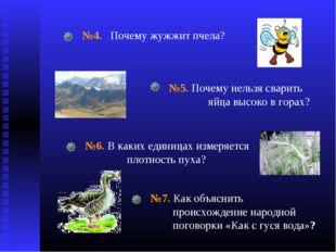 №4. Почему жужжит пчела? №5. Почему нельзя сварить яйца высоко в горах? №6. В