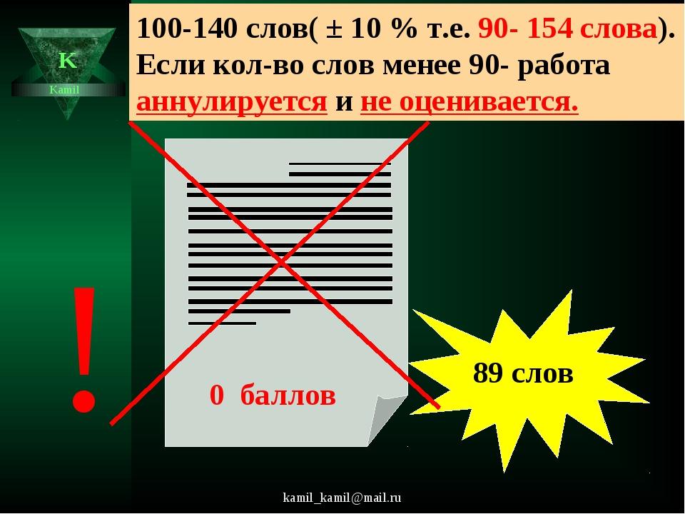 kamil_kamil@mail.ru K Kamil 100-140 слов( ± 10 % т.е. 90- 154 слова). Если ко...