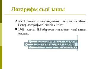 Логарифм сызғышы XVII ғасыр – шотландиялық математик Джон Непер логарифм түсі