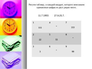 Рисуем таблицу, в каждый квадрат, которого вписываем одинаковые цифры из двух