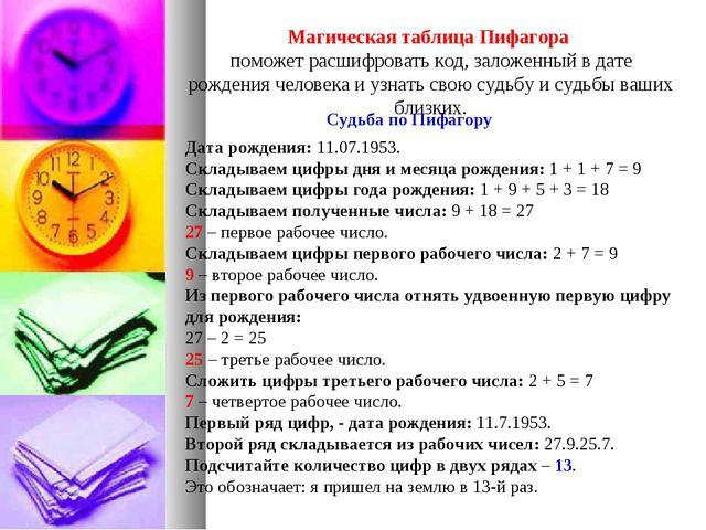 Магическая таблица Пифагора поможет расшифровать код, заложенный в дате рожде...