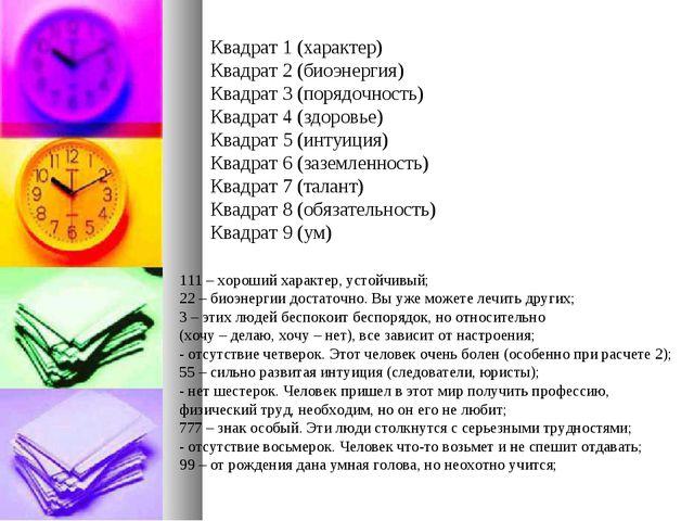 Квадрат 1 (характер) Квадрат 2 (биоэнергия) Квадрат 3 (порядочность) Квадрат...