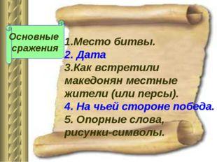 1.Место битвы. 2. Дата 3.Как встретили македонян местные жители (или персы).