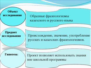 Объект исследования Образные фразеологизмы казахского и русского языка Предме