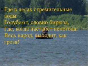 Где в лесах стремительные воды Голубеют, словно бирюза, Где, когда настанет н