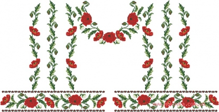 Заготовка для блузки Красно-черный орнамент с маками, БЖ-050 (атлас-котон), Барвиста Вишиванка