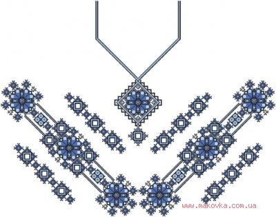 Заготовка для блузки БЖ-048 (атлас-котон) Сине-черный орнамент, Барвиста Вишиванка