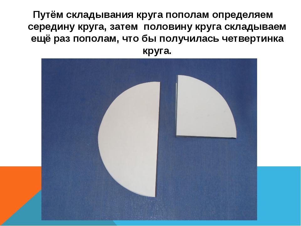 Путём складывания круга пополам определяем середину круга, затем половину кр...