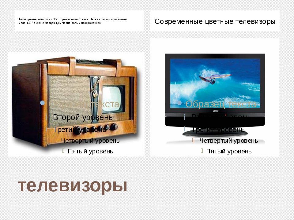телевизоры Телевидение началось с 30-х годов прошлого века. Первые телевизоры...