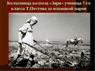 Колхозница колхоза «Заря» ученица 7-го класса Т.Пестова за вспашкой паров