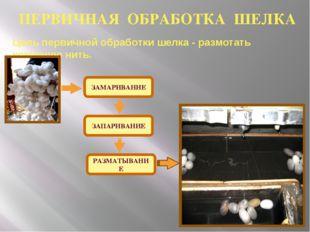 ЗАМАРИВАНИЕ ЗАПАРИВАНИЕ РАЗМАТЫВАНИЕ Цель первичной обработки шелка - размота