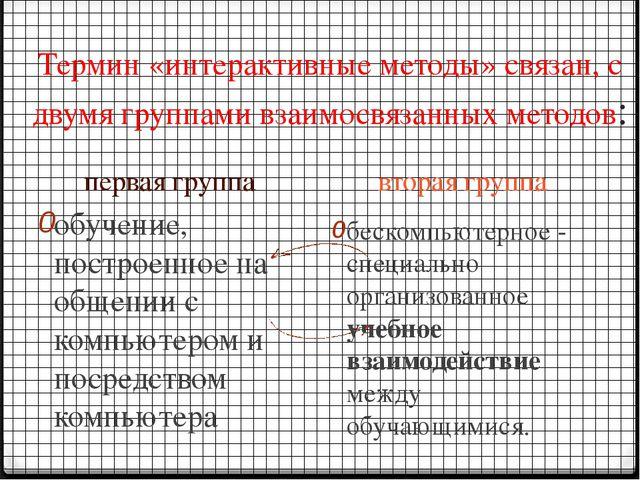 Термин «интерактивные методы» связан, с двумя группами взаимосвязанных методо...